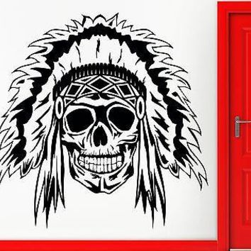 Wall Sticker Vinyl Decal Indian Skull Scary Creepy Horrow Decor Unique Gift (z2398)