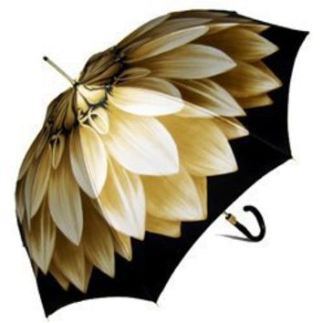 Pasotti Italian Umbrella Ladies Fancy Taupe Dahlia Flower Rain Parasol
