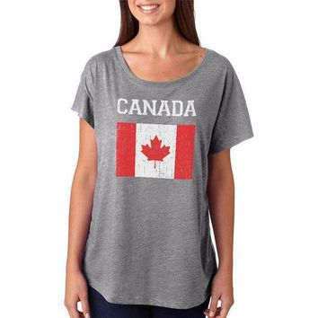 ESBGQ9 World Cup Distressed Flag Canada Juniors Dolman T Shirt