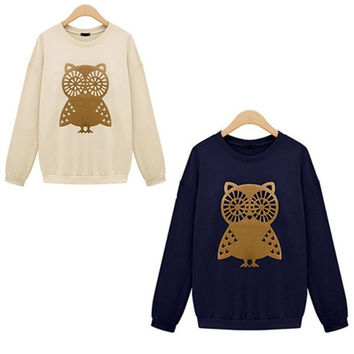 2015 New Cute White Owl Animal Print Beading Hoodies Sweatshirt Pullover for Women Sportswear = 1931460804