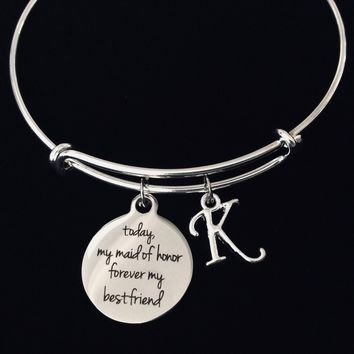 Today My Maid of Honor Forever My Best Friend Adjustable Bracelet Expandable Silver Wire Bangle Wedding Shower Bridal Trendy Proposal One Size Fits All Gift