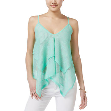 Bar III Womens Tiered Shimmer Tank Top