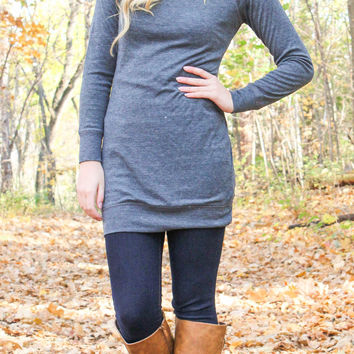 Endless Possibilities Tunic Dress - Charcoal