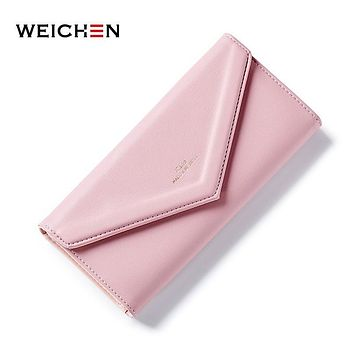 WEICHEN New Design Envelope Clutch Wallet For Women, Heart Zipper Pendant Ladies Long Wallet Purse Female Purses Bag Money Clip