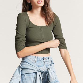 Cropped Henley Top
