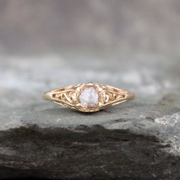 Raw Diamond 14K Yellow Gold Engagement Ring - Antique Filigree Design - Conflict Free Diamond Engagement Rings - April Birthstone Ring