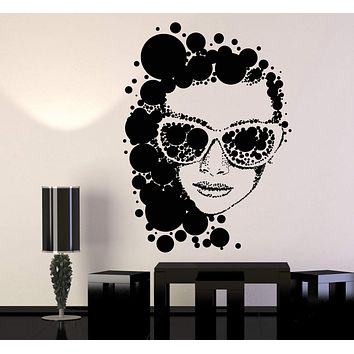 Vinyl Wall Decal Retro Woman Sunglasses Art Fashion Girl Model Stickers Unique Gift (1300ig)