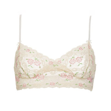 Sale - Soft Bra / Floral Lace Lingerie Bra // Pastel Pink and White Lace Bra