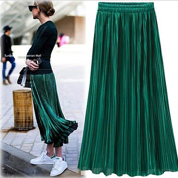 Silver Gold Velvet Pleated Skirt Womens Vintage High Waist Skirt 2016 Winter Long Warm Skirts New Fashion Metallic Skirt Female