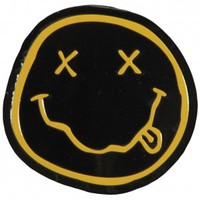 Nirvana Smiley On Gold Sticker - Stickers & Patches - Novelties - Rockabilia
