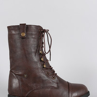 Round Toe Lace Up Combat Mid Calf Boots