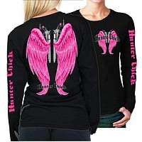 Country Life Outfitters Hunter Chick Wings Guns Vintage Black & Pink Long Sleeve Bright T Shirt