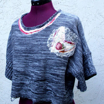 Valentine's Eco Friendly Rustic Cropped Sweater Grey Tweed Urban Chic Mori Girls