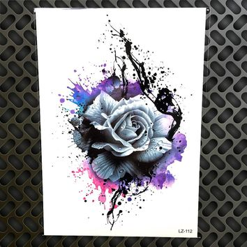 3D Watercolor Purple Rose Henna Temporary Tattoo Stickers Women Men Body Art Large Arm Chest Tattoo Fake Flash Flower Tatoo Sexy