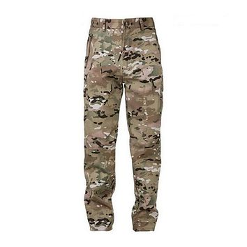 Shark Skin Softshell Tactical Military Camouflage Pants Men Winter Army Waterproof Thermal Camo hunt Fleece Pants trousers