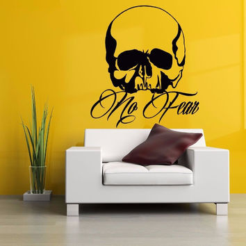 Halloween Skull Vinyl Wall Decal Quote No Fear Skull Mural Art Wall Sticker Graphic Bedroom Shop Bar Window Glass Home Decor