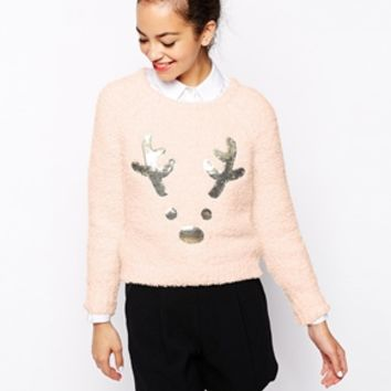 New Look Sequin Reindeer Jumper