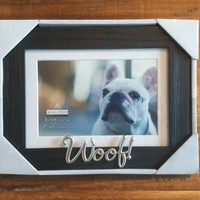 "NEW Dog Photo Frame Black Wood-Look Frame Silver Colored Word Woof 4"" x6"" 5""x7"""