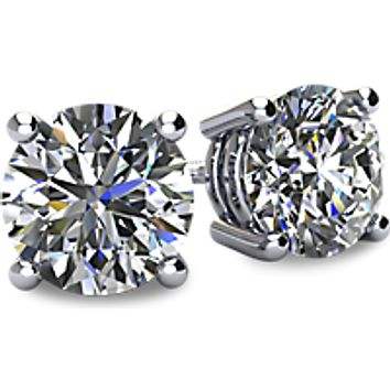 Cubic Zirconia Earrings-*Clearance* 3.0 Carat TGW 4 Prong Round CZ Stud Earring Set With Screw Back in Platinum