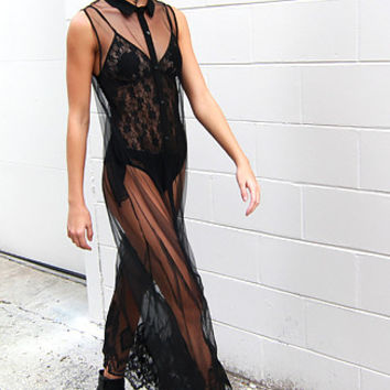 Night Falls Embroidered Mesh Maxi Dress in Black