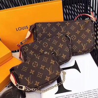 LV Hot Sale Fashionable Women Monogram Leather Metal Chain Handbag Shoulder Bag