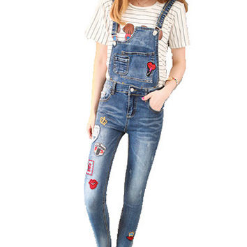 Denim Leisure Style Plus Size Jumpsuits And Rompers For Women Dungarees Femme Elegant Long Coveralls Bodycon Jumpsuit B190