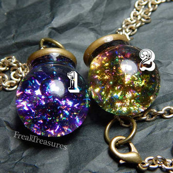Wicked spell water globe necklace; witchy moonchild kawaii soft grunge pastel goth