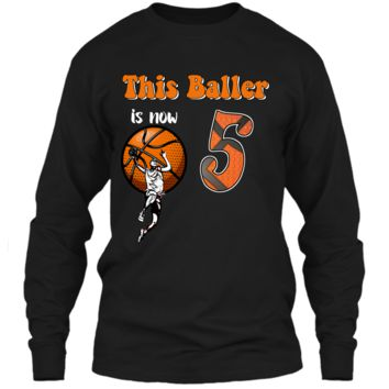 5th Birthday Basketball T-Shirt Funny 5 Years Old Gift LS Ultra Cotton Tshirt
