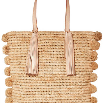 Loeffler Randall - Cruise pompom-embellished leather-trimmed woven raffia tote