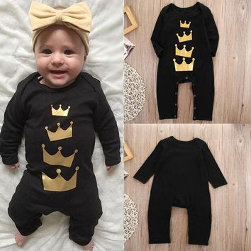Newborn Infant Baby Boy Girl Kid Clothes Long Sleeve Cotton Romper Jumpsuit Crown Clothing Outfit Baby Boys