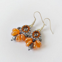 Orange grey Swarovski crystal beadwork earrings, elegant earrings, party earrings, dangle earrings, office jewelry, bridesmaids earrings