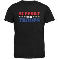 Support Our Troops Red White & Blue Stars Black Adult T-Shirt