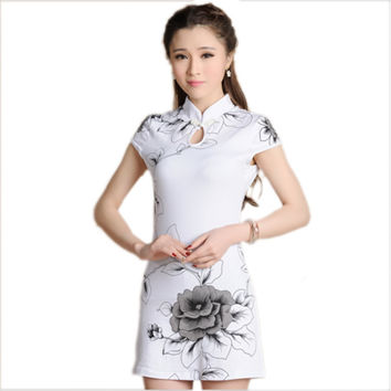 Ethnic Style Summer Dress Women Flowers Cotton Cheongsam Dresses Slim Chinese Dress Painting Mandarin Collar Qipao Dress