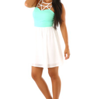 Last Night Of Summer Dress: White/Mint