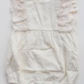 Cream Linen and Lace Romper Set by Miss Rose Sister Violet