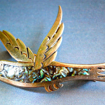 Abalone Bird Sterling Brooch-Pin by Pedro Castillo, Taxco Mexico, Vintage