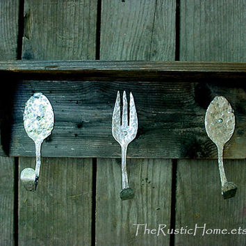 Weathered wood hammered forks spoons hooks kitchen shelf