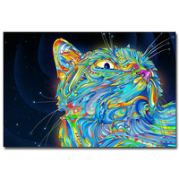 Psychedelic Trippy Cat Abstract Art Silk Fabric Poster Print 13x20 24x36inch Picture For Living Room Decor 002