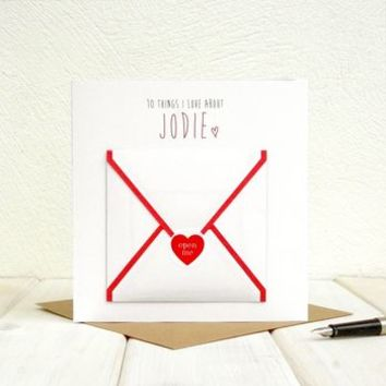 10 Things I Love About… Personalised Greetings Card
