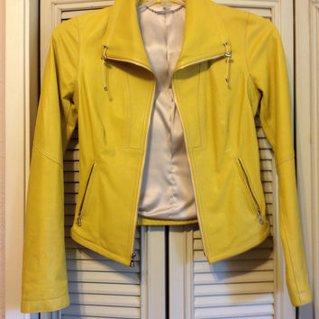 Butter Soft Butter Yellow Leather Moto Jacket By Elie Tahari