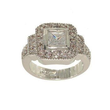 Vintage Look Fashion Ring with Bezel Set Princess Cut Clear Cubic Zirconia in Silvertone with Frames of Clear CZ