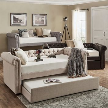 Knightsbridge Tufted Scroll Arm Chesterfield Daybed and Trundle by SIGNAL HILLS | Overstock.com Shopping - The Best Deals on Kids' Beds