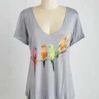 Critters Mid-length Short Sleeves Conure Up a Memory Top