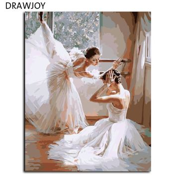 DRAWJOY Frameless Pictures Painting By Numbers DIY Digital Oil Painting On Canvas Home Decor Balet Dancer Wall Art 40*50cm