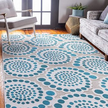 7148 Ivory Teal Outdoor-Indoor Carved Contemporary Area Rugs