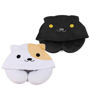 1pcs Cute Cartoon Animal Cat U Shape Pillow Portable Travel Hooded Pillow  Support Head Neck Rest Cushion with Hat