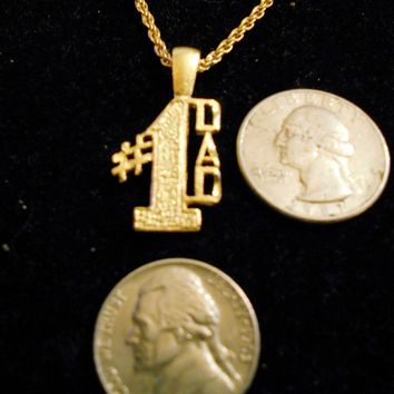 bling 14k yellow gold plated # 1 dad words word saying sayings pendant charm 24 inch rope special trendy fashion chain hip hop necklace jewelry