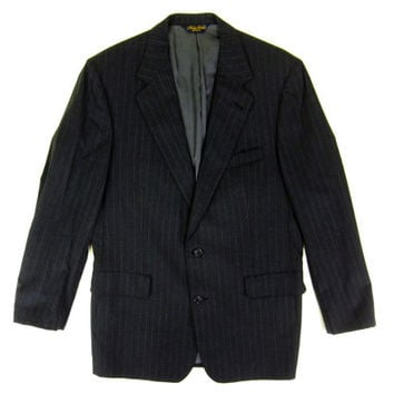 Grey Pinstripe Suit Jacket by Brooks Brothers - Wool Blazer Sport Coat - Ivy League Menswear - Men's Size 42 Medium Med M
