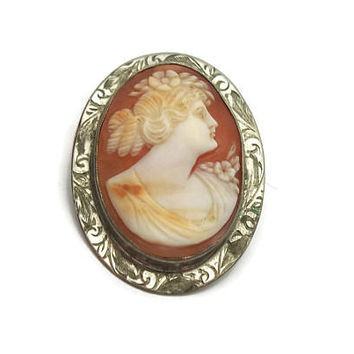 """Antique Genuine Carved Shell Cameo Brooch - C Clasp - Vintage 1"""" x 1.25"""" Early 1900s Cameo Pin - Engraved Etched Silver Tone Metal Setting"""