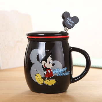 New arrival hot sale cute Lovely Mickey Mug With Cover and 1 spoon Ceramic Cup Cartoon Lovers Minnie Coffee milk tea Cup